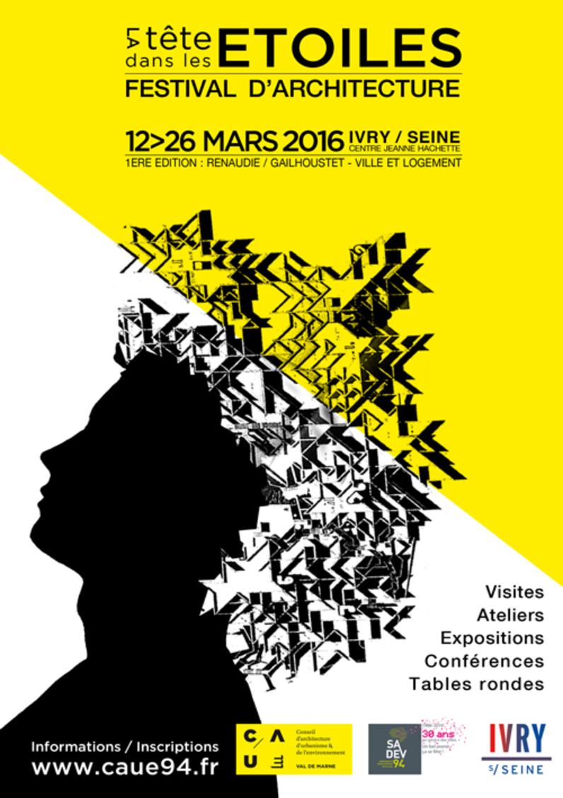 """Affiche du festival """"La tête dans les étoiles"""", Ivry-sur-Seine, mars 2016"""